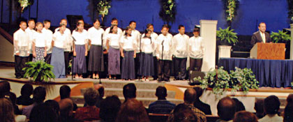 The group of Filipino orphans singing and sharing testimonies at the ATI Training Conference in Nashville, TN