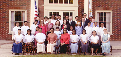 A delegation of twenty Filipino orphans and two chaparones with IBLP staff.