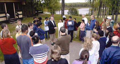 Bill Gothard giving a tour at the Northwoods