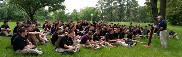 The outdoors provided a great chapel area for leaders to share truth with the young men.